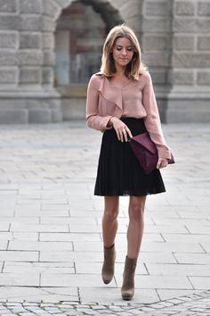 pleated black chiffon skirt + delicate blush blouse