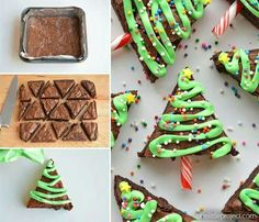 CHRISTMAS TREE BROWNIES...these are so fun & cute!  http://onelittleproject.com/christmas-tree-brownies/