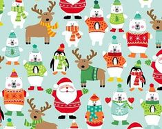 A cute array of Christmas characters, scattered across a pretty turquoise background. This fabric is premium cotton from the 'Christmas Novelty' collection by Makower Fabrics, and is lightweight and perfect for crafts, quilting or dressmaking. Christmas Hair Bows, Christmas Deer, Christmas Fabric, Christmas 2017, Christmas Colors, Christmas Crafts, Xmas, Christmas Ornaments, Turquoise Christmas