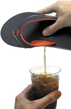 Flask Sandals...so much easier than airplane bottles!