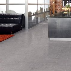 TrafficMASTER Ceramica Concrete Resilient Vinyl Tile Flooring - 12 in. x 12 in. Take Home - The Home Depot Vinyl Tile Flooring, Vinyl Tiles, Home Depot, Bungalow Decor, Sitting Room Decor, Kitchen And Bath Remodeling, Concrete Color, Bathroom Floor Tiles, Flooring Options