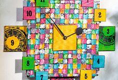 Châssis Quadratologo et cartons entoilés pour une horloge originale  #ideedeco #homedeco #quadratologo #chassisentoile #horloge #diy #loisirscreatifs