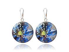 Light blue round earrings Colorful dangle jewelry by DragonPorter #greybluejewellery #dropearrings #handmade