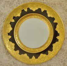 Limoges France A. Lanternier & Co. Cobalt Blue & Gold Encrusted Cabinet Plate Victorian Art Nouveau French