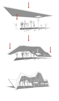 Open-Sided Shelter / Ron Shenkin Studio - Your Decor Architecture Pliage, Folding Architecture, Pavilion Architecture, Architecture Drawings, Interior Architecture, Black Architecture, Plan Concept Architecture, Parametric Design, Roof Design
