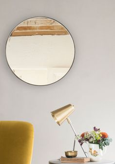 "When our Emily first unwrapped this steel stunner she reminded us that ""round mirrors are dead nice"". Right you are, Em. We think it's the characterful metal edge that really does it. Oval Mirror, Round Mirrors, Mirror Floor, Storage Mirror, Comfy Sofa, Beautiful Mirrors, Moving House, High Fashion Home, Shelf"