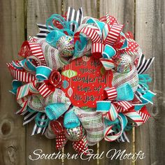 Whimsical Christmas wreath! Check out this item in my Etsy shop https://www.etsy.com/listing/490168115/christmas-wreath-whimsical-christmas
