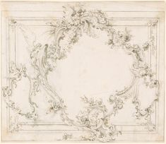Giovanni Battista Piranesi 1720-1778 Design for a Wall Panel with Rococo Shield.