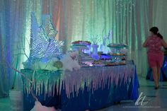 Felt ice dripping from a table Dance Decorations, Dance Themes, Frozen Decorations, Winter Wonderland Decorations, Winter Wonderland Christmas, Christmas Dance, Frozen Christmas, Disney Frozen Party, Frozen Birthday Theme