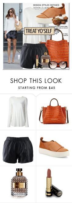 """Street Style: Olivia Palermo"" by tonituff ❤ liked on Polyvore featuring T By Alexander Wang, Dooney & Bourke, Chicwish, Vince, Valentino and Gucci"