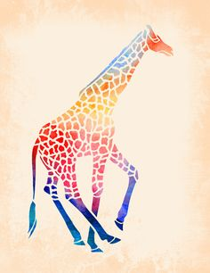 Watercolor Giraffe Stretched Canvas