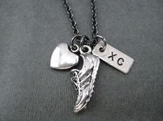 Love to Run XC Cross Country Necklace on 18 inch Gunmetal Chain - Pewter Heart, Pewter Running Shoe Charm and Hand Hammered, Hand Stamped Nickel Silver XC Charm Thing 1, Trail Running Shoes, Cross Country Running Shoes, Xc Running, Running Tips, Silver Bow, Black Jewelry, Hand Stamped, Pendants