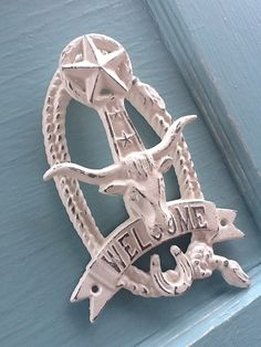 Country Style Door Knocker Distressed Steer by CamillaCotton, $23.50  @Cora Nicole thought of you when I saw this.  ;)
