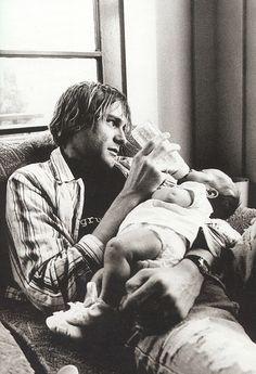 Kurt Cobain and Frances Bean Cobain