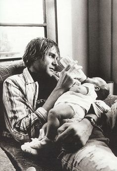 Kurt Cobain and Frances Bean.