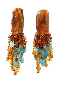 Monies UNIQUE Danish Amber & Auqamarine Clip Ons