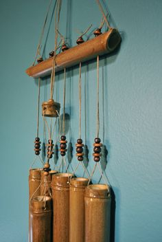 Hand crafted bamboo windchime with hemp and wooden beads