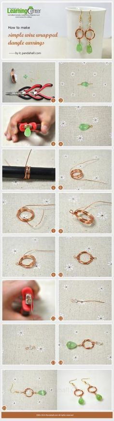 How to Make Simple Wire Wrapped Dangle Earrings by Jersica