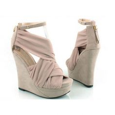 Fashion and Sweet Style Cross Ribbon Embellished Peep Toes and Buckle Design Women's Wedge Sandals
