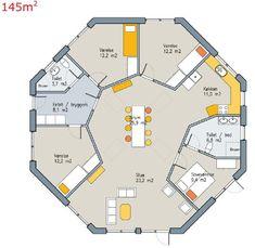 Forslag til plantegning af 8-kantet hus