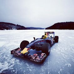 Redbull F1 on a frozen lake somewhere in the Province of Quebec