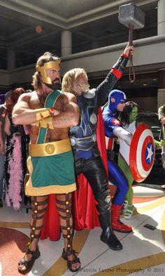 Hercules, Thor, Captain America, and the She Hulk.