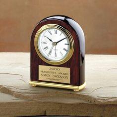"Elegant Rosewood Piano Finished Award Clock (5""x4""x1 1/2"")"