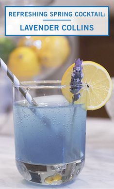 Gin, club soda, lavender, and lemon juice make this Lavender Collins Cocktail as delicious as can be. Try out this unique and refreshing recipe combination from Inspired Gathering at your next bridal shower or summer celebration. Spring Cocktails, Refreshing Cocktails, Fun Cocktails, Summer Drinks, Cocktail Recipes, Dried Lavender Flowers, Signature Cocktail, Fresh Lemon Juice