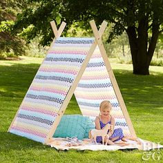 Create a magical space for your little one to play in with this cute tepee-tent design!