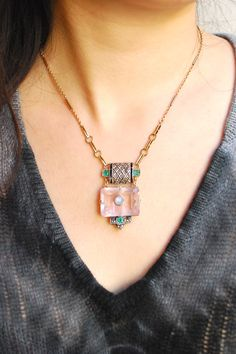French deco 1930s: rose quartz // blue star sapphire // marcasites // emeralds