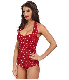 88eeae6d61 Unique vintage darling one piece swimuit red polka dot