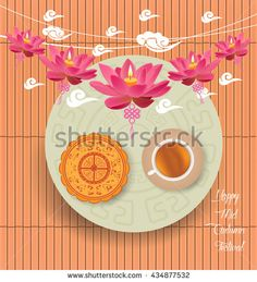 Mid Autumn Lantern Festival background with moon cake and chinese tea