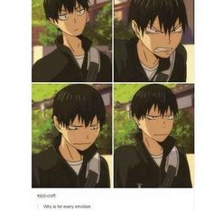 He looks like every first year in just this scene- (from top left to bottom right) Hinata face, his own face, Yamaguchi face, and Tsukishima face XD << WHOA UR RIGHT Hinata, Haikyuu Kageyama, Kuroo Tetsurou, Haikyuu Funny, Kagehina, Haikyuu Anime, Haikyuu Volleyball, Volleyball Anime, Haikyuu Characters