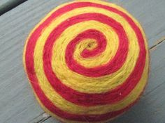 One multicolored felted pincushion Red and Yellow by Dreamcrafter, $8.00