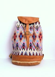 Spring must have! VTG Leather Kilim NAVAJO BACKPACK. These things are made to last and you will have FOREVER.