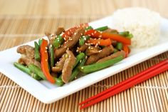 ginger beef and green bean stir-fry, vegan option. But obviously would make with real beef.