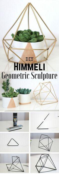 Easy Diy Home Decor Ideas - Make your very own geometric sculpture #homedecordiyapartment