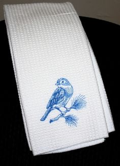 bluebird embroidered kitchen towel