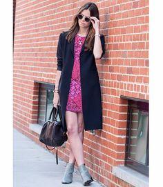 Taylor Cassidy in a vintage dress, vintage jacket, Illesteva glasses, Phillip Lim shoes, Clare Vivier bag