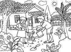 house and front garden coloring page - BúsquedadeGoogle Garden Coloring Pages, Vegetable Coloring Pages, Coloring Pages To Print, Coloring Pages For Kids, Adult Coloring, Autumn Clematis, Clematis Vine, Unique Gardens, Beautiful Gardens