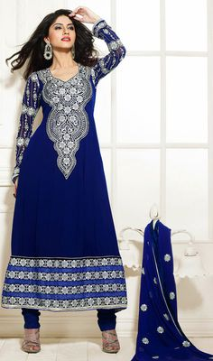 Create a buzz with this navy blue embroidered georgette churidar suit. The ethnic lace and resham work to dress adds a sign of elegance statement for the look. Blue Wedding Dresses, Navy Blue Dresses, Formal Dresses, Bridal Lehenga, Saree Wedding, Churidar Suits, Salwar Kameez, India Wedding, Online Dress Shopping