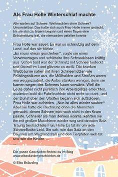 Als Frau Holle Winterschlaf hielt - für Kinder - - Немецкий язык. Elke Bräunling, Craft Projects For Kids, German Language, Yoga For Kids, Story Time, Classroom Management, Kids Playing, Storytelling, About Me Blog