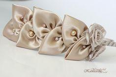 Kanzashi Fabric Flower Headband Beige