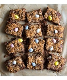 With their crisp outer shell and solid chocolate interior, Cadbury Mini Eggs are a popular Easter treat. These brownies feature them in two delicious ways—folded into the batter and sprinkled over top.