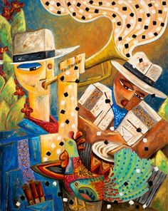 Art Gift Ideas Trumpet & Congo Player Musical Figures Surreal Rooster Landscape Country Ethnic Cuban Tropical Jazz Music Painting Print by SierraFineArt on Etsy Magnum Opus, Charles Darwin, Canvas Art Prints, Painting Prints, Zenyatta Horse, Latino News, Jazz Art, Jazz Music, Cuban Art