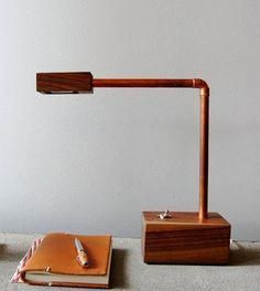wooden lamp with copper tubes. by amelia Pipe Lighting, Copper Lighting, Wooden Lamp, Wooden Diy, Lampe Tube, Copper Lamps, Fluorescent Lamp, Copper Tubing, Led Desk Lamp