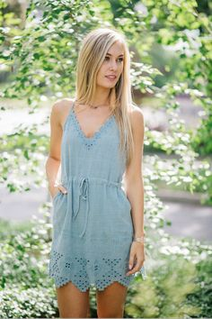 21d408b42635 blue eyelet sun dress Summer Vacation Outfits
