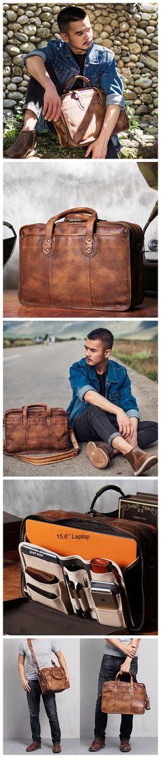 Handmade Vintage Brown Leather Briefcase Men's Messenger Bag 15.6'' Laptop Bag NZ01