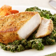 We just simply can not part with parmesan! Try this parmesan crusted #pork with #kale recipe!