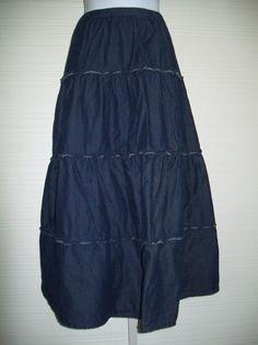 "18/20 Avenue Denim Skirt 4 Tier Elastic Waist 42 to 50"" BoHo Western Cotton #avenue #PeasantBoho"